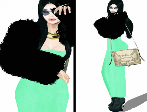 Skin:It Girls-Sui (NEW!!) Hair:LELU-Cheryl .Pitch Bag:FLESHTONE-KARMEN satchel Dress:VIVE9-Mischa Cutout Maxi dress .Jade Shoes:VIVE9-Prey Platform Boots .Black Jacket:Curio Obscura-Fun fur Jacket