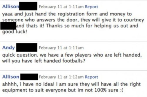 Left-Handed Footballs I would have done absolutely anything to hear this conversation take place at the football field.