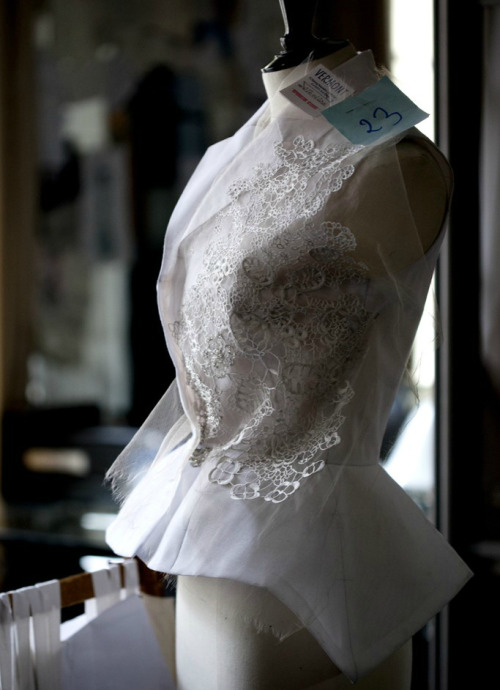 Toile look inside the atelier for Christian Dior haute couture s/s 2012 by Bill Gaytten, photographed by Sophie Carre