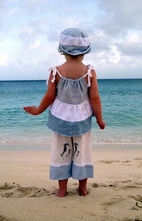 SPRING/SUMMER 2012 KIDS FASHION PREVIEW:  Water meets clouds at LamanBlu, a collection of sea-inspired sportswear for girls and boys. This season, look for eco-friendly designer fabrications such as washable linen, silks, organic cottons, modal and bamboo knits, cut for comfort and printed with exclusive, trend-conscious patterns.  (Girls and boys 6m-6x)
