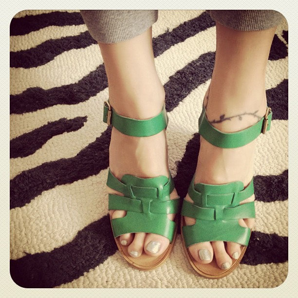 Just in… fun green wedge sandals by @PourLaVictoire #shoes #fashion (Taken with Instagram)