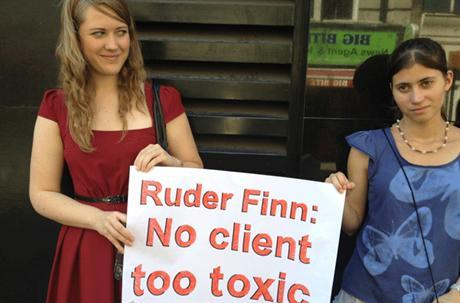 A group of protesters gathered outside Ruder Finn's London offices on Tuesday to protest the agency's work for the Maldives government. Ruder Finn drew criticism from the British-based, pro-democracy group Friends of Maldives for accepting a contract to promote tourism and a positive public image following claims that the new Maldivian government seized power through a coup d'état.