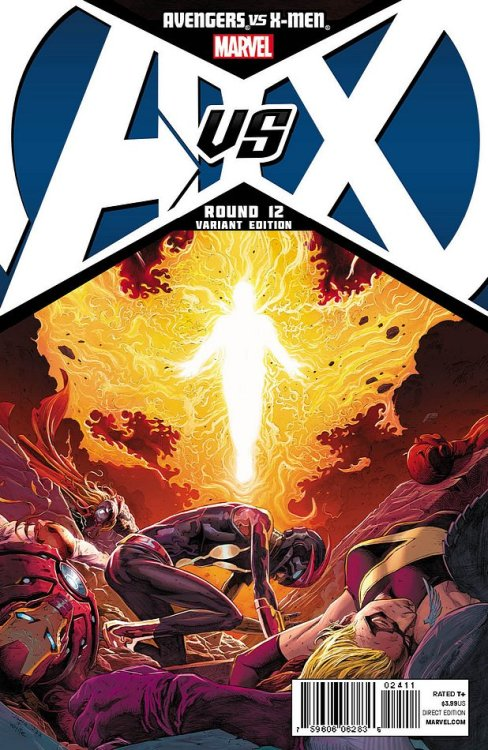 The Avengers lose to the Phoenix on the cover to Avengers vs. X-Men #12 from Marvel.