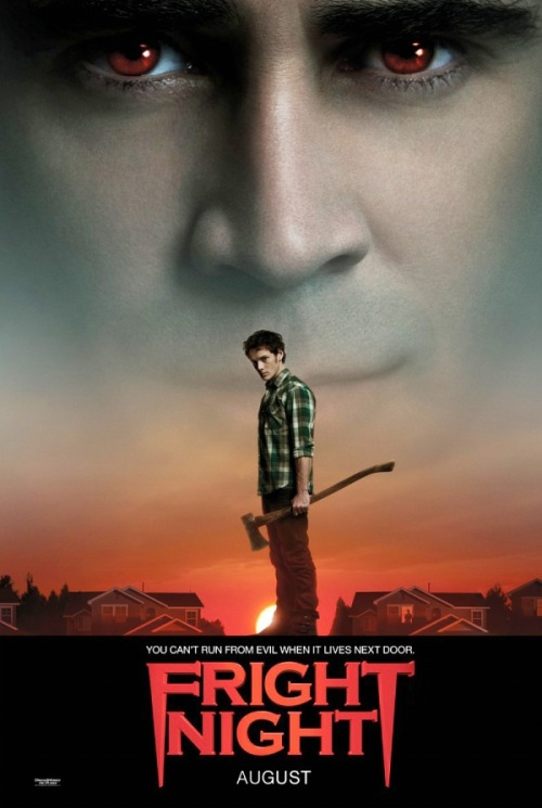 #389/#106 Fright Night (2011) Charley (Anton Yelchin) has recently gotten himself a hot girlfriend (Imogen Poots), gotten away from his geeky past and ditched his former best friend Evil Ed (Christopher Mintz-Plasse). Things are looking on the up and up for Charley until Ed comes to him with information on Charley's new neighbour Jerry (Colin Farrell). Namely that he's a vampire. At first unbelieving but quickly accepting this to be true, Charley has to fight Jerry while trying to keep his family safe and track down the supposed vampire expert Peter Vincent (David Tennant) for help. Having only seen the original Fright Night last December (review here), I had no real trepidation going into this film. Often there is a knee-jerk reaction to remakes of fairly recent films but I thought this one did the original justice while being its own endeavour. The broad strokes of the original are there but they are acted out in different ways, giving the movie its own flavour. Think Karate Kid remake rather than Psycho remake. Yelchin is a solid lead, acting as our everyman and, like the original, only really questioning the validity of vampires in the real world for a short time before going into survival mode. Mintz-Plasse, although probably type cast by this point, plays the geeky Ed really well, even managing to give the character a little bit of heart. Eons better than the original movie's Ed. The film belongs to Tennant and Farrell though. Farrell provides a really enjoyable turn as the vampire Jerry, being both seductive, comedic and menacing in equal measure. His disdain and almost boredom with the events as they transpire really sells the feeling that he's lived for hundreds of years and none of this is really all that new or interesting to him. Tennant plays a very different Peter Vincent from Roddy McDowall's original role but it's equally as enjoyable. His role is pretty much a mix of the Doctor, Chris Angel and Russell Brand with the biggest arc of the film and most of the comedic moments. He's a good actor and I'd like to see him in more mainstream films. The only thing I think was rather weak in this was the CGI and effects. The original has some truly great monster effects and a really interesting look but the ones in this are really goofy looking. The CGI effects for the vampire transformations look like they're already a couple of years behind current tech and break the immersion somewhat. This is a solid action/horror flick and one of the better vampire films post twilight neutering of the genre. 4/5