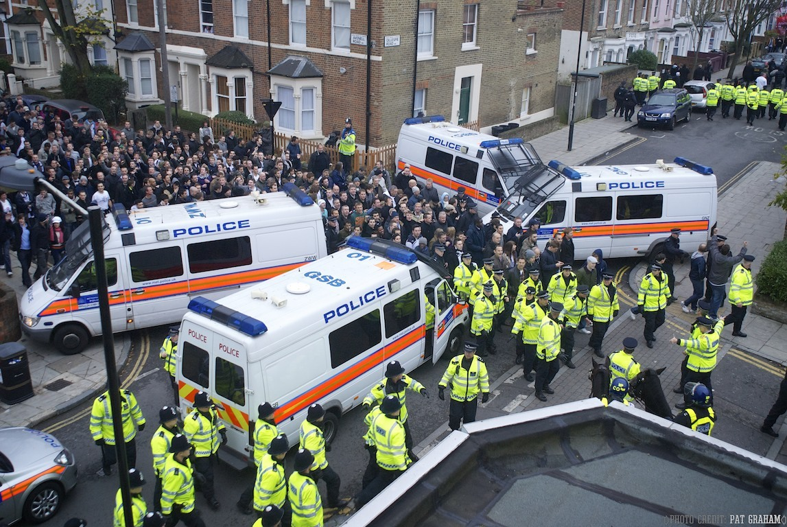 Spurs supporters leave Highbury.