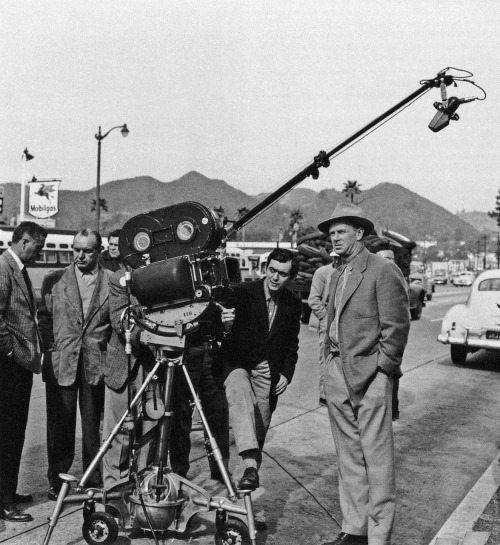"strangewood:  Stanley Kubrick and Sterling Hayden on the set of The Killing. ""The Killing was my first real professional piece of work. Again, the subject wasn't very good, but I put a lot more care into the direction, despite the fact that it was shot in only twenty days. It took me far longer to edit it."""