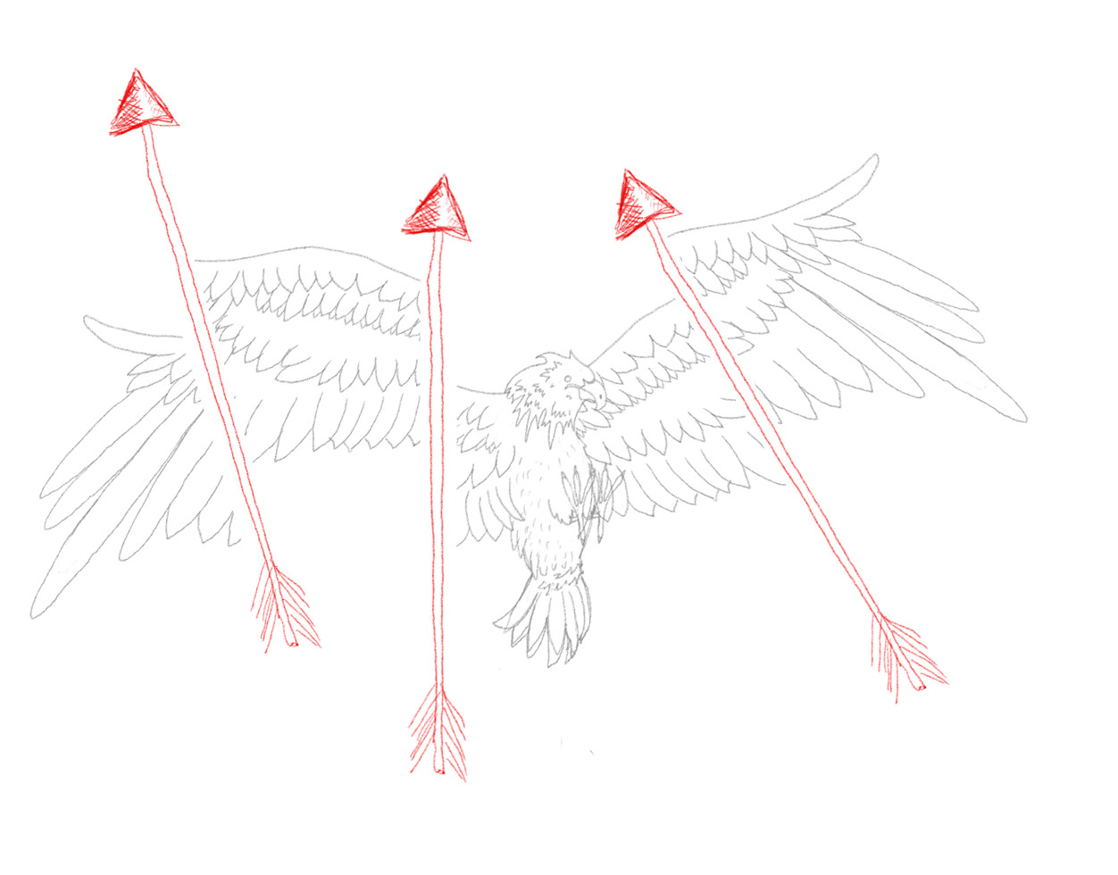 """Eagle in the Sky Arrows Fly High"". A step closer to what I had pictured. Now to do some computer related tricks.  I always upload my work onto EatSleepDraw.com, and usually i get a couple of hundred likes and re-blogs wich is ok right?. My ""A Drop Of Life"" got over 3000. Talk about smashing my own record haha. it will be pretty hard to top that. It's nice to see people enjoy my work. It also helps with my confidence :) Garryhannah.org twitter.com/gh84z"