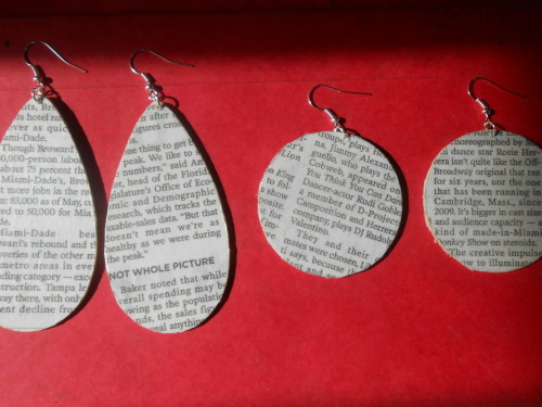 remixdpieces:  Newspaper earrings by Remixd Pieces. These goodies will be on sale Saturday July 28 at the Indie Craft Bazaar in Fort Lauderdale, Fl from 12pm-5pm at Revolution Live (100 SW 3rd Ave, Ft Lauderdale).  See you there!