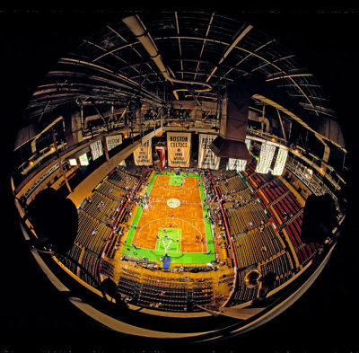 siphotos:  A view from the upper bowels of the Boston Garden before a 1988 Celtics-Hawks playoff game. (Corbis) GALLERY: Iconic Photos of the Boston Celtics