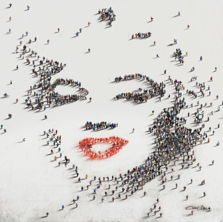 Craig Alan recreates portraits of famous people using actual people as pixels!  Aerial Photography Portraits by Craig Alan via Ignant