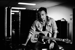 "burcespingsteen:  Bruce Springsteen: Stories Behind the Photographs  ""Every now and then you meet someone that restores and confirms one's faith in human nature. It just so happens that the someone was Bruce frickin' Springsteen,"" Julian Broad told me. ""My assistant and I were left dumfounded by his kindness to a couple of fleas flown in from London to photograph him—just a lovely bloke and funny."""