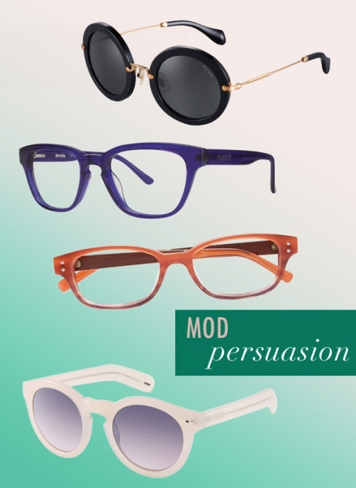 For women, this season is all about the round frames – whether '60s mod or '80s glam – this style is one of fall's most lust-worthy shapes. Spicy orange and red hues heat things up, while purples and tortoise add a soothing approach. Wayfarer shapes and geek chic frames keep the modness of previous seasons going strong.