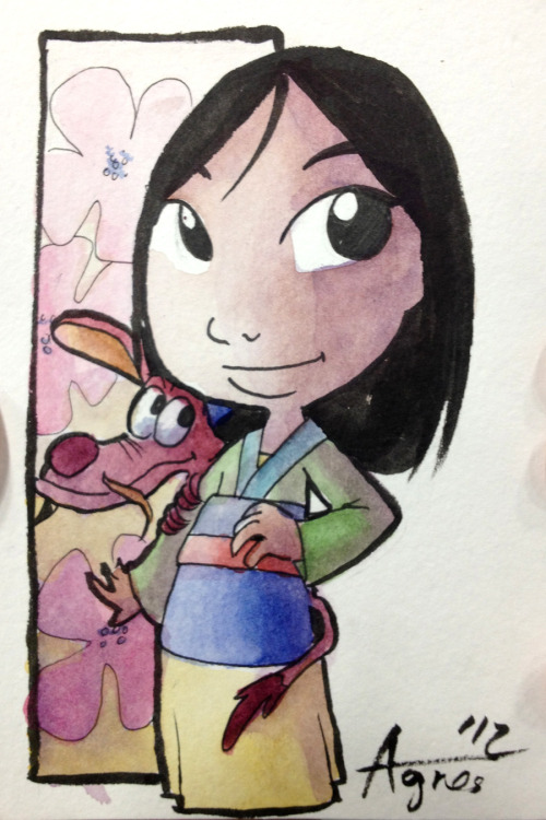 Cute Mulan with Mushu postcard commission done at SDCC. Continuing my Disney Princess theme! Here is Rapunzel if you missed the post earlier.