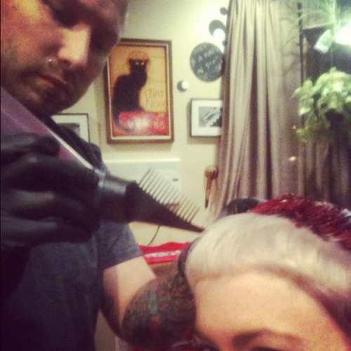 Danny Elder working some fuschia magic on me.  (Taken with Instagram)