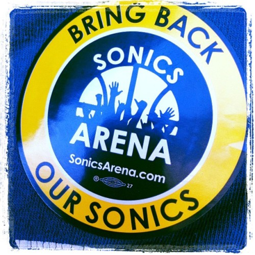 Sticker on my shirt. Bring em back! #sonics #sonicsarena (Taken with Instagram)