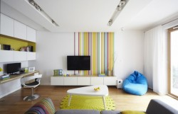 Love the bold colourful highlights in this apartment. Not for everyone, I'm sure, but it's fun and warm. Source: http://www.contemporist.com/2012/07/24/apartment-in-warsaw-by-widawscy-studio-architektury/