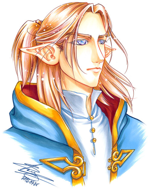 This is Silas L'Heritier, my pretty elven mage dude. He is meant to be super pretty ¦3 (to counteract the tomboyish looks of the other main character of the story). I had to pick his colour scheme finally (as I'd only ever drawn him in black/white before), I think it's cute to have a pretty guy as a strawberry blond for a change XD But I like how his eyes turned out - a kind of iridescent grey. Faber Castell brush pens, Letraset Flex markers, Copic Ciao markers, Faber Castell colour pencils, Muji correction fluid. Give me a +fav on deviantArt if you like it! http://fav.me/d58pv6w