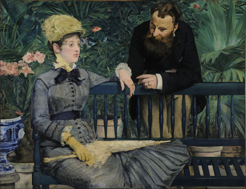 peril:  In the Conservatory (1879), oil on canvas, Alte Nationalgalerie, Berlin | artwork by Édouard Manet