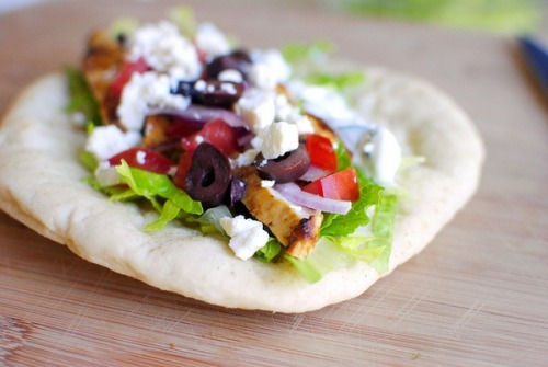 fit-ish:  Greek Chicken Pita {open face style} with Cucumber & Dill Yogurt Dressing