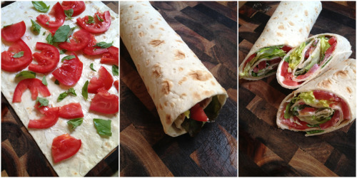 Sandwich wrap for lunch: layer, roll, & slice. It's that easy!
