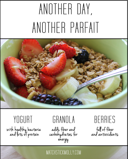 matchstickmolly:  This is currently my favorite breakfast! It's so yummy and so full of great stuff. You can put it in a pretty glass or just throw it in a bowl like I did. FYI: My favorites are Cascadian Farms Ancient Grains Granola and Chobani Vanilla Yogurt. And berries from Mother Earth.