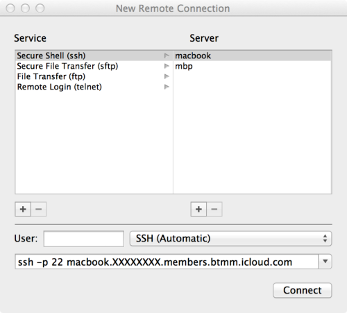 Another way to SSH into another Mac using iCloud's IPv6 network: in Terminal, choose 'New Remote Connection' from the Shell menu, or whack ⇧ + ⌘ + K.  Thanks, @ctaloi!