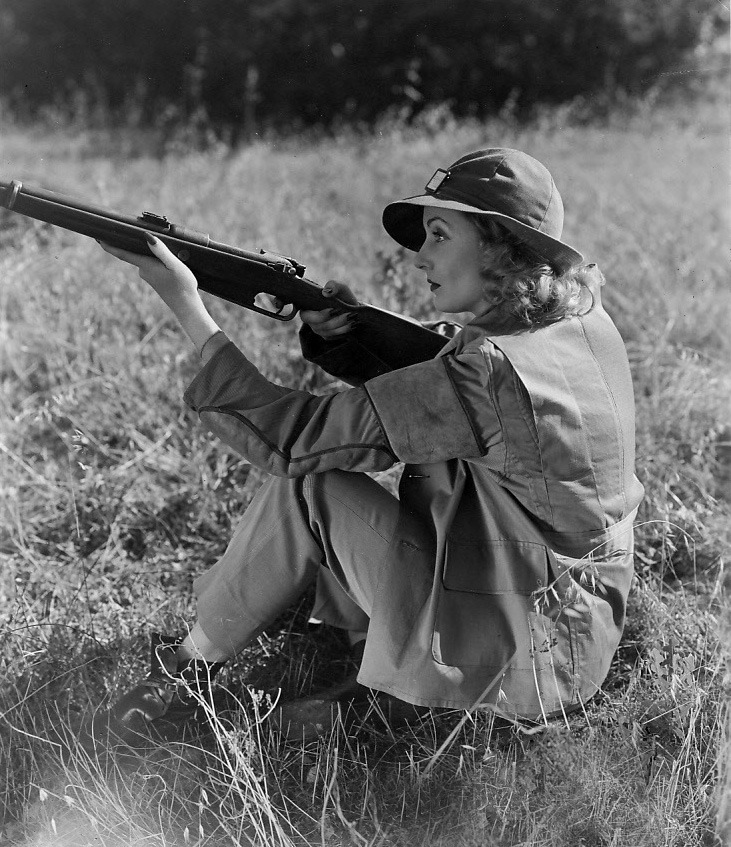 April 4, 1939: Carole Lombard introduces skeet shooting to the Hollywood motion picture colony.  An ardent sportswoman, Miss Lombard's favorite relaxation is skeet shooting and hunting in her San Fernando Valley ranch.