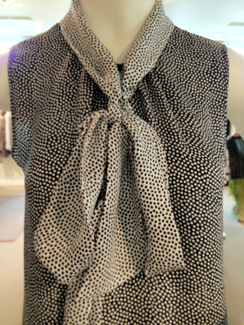 Kelly Wearstler reverse print polk-dot pussy-bow blouse for fall 2012.