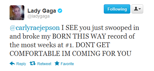 "monstersolar:  trollthisway:  Lady Gaga threatens to kill porn star Carly Rae Jepson.  LMFAOO.   Love you lady gaga and ur song "" born this way"" "" hair"" paws up mother monster"