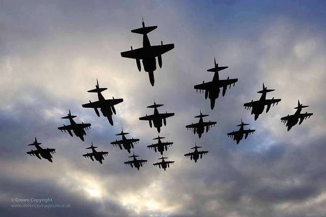 militaryandweapons:  Sixteen Harrier Aircraft Fly in Formation to Mark Retirement from Service by Defence Images on Flickr.