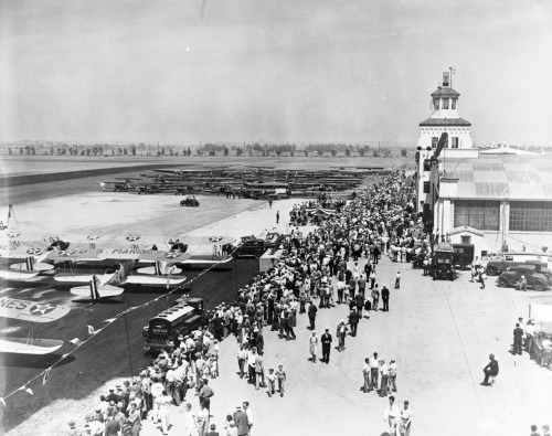 "Dedication of Los Angeles International Airport — then named Mines Field — in June 1930. How did LAX emerge from the bean fields of Westchester? Find out in L.A. as Subject's latest KCET contribution, ""From Mines Field to LAX: The Early History of L.A. International Airport."""
