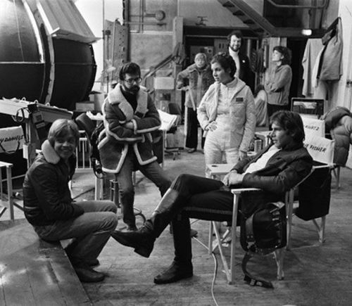 George Lucas and gang chat on the set of The Empire Strikes Back  - 1980