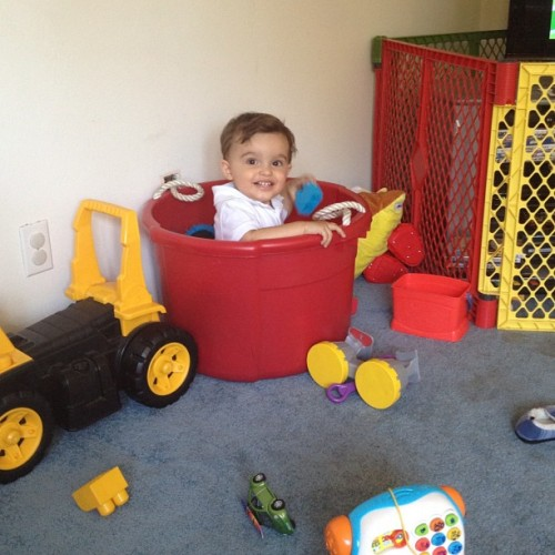 Dominic decided it was a good idea to sit inside his toy box. Hahahaha #babylove #baby #instababy #instalife #instalove  (Taken with Instagram)