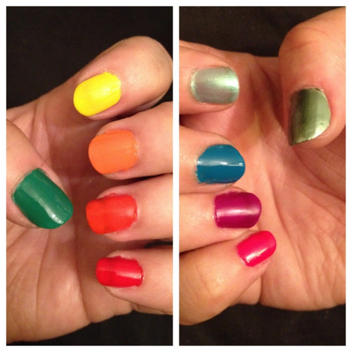 My rainbow nails to go with my rainbow hair. :)