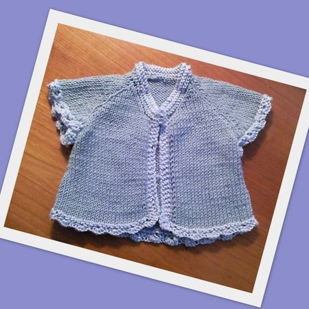 lovely little short baby raglan jacket.  love the crochet details on the ediges