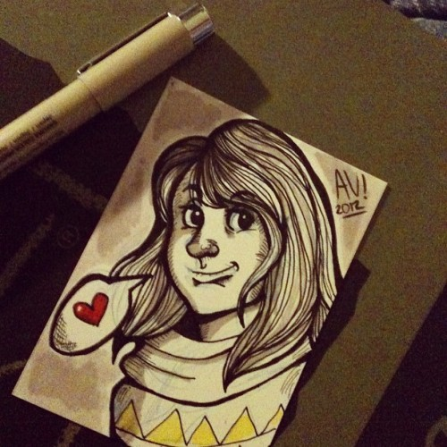 abajodeuncerezo:  Artist trading card #art #illustration #sketch  (Tomada con Instagram)