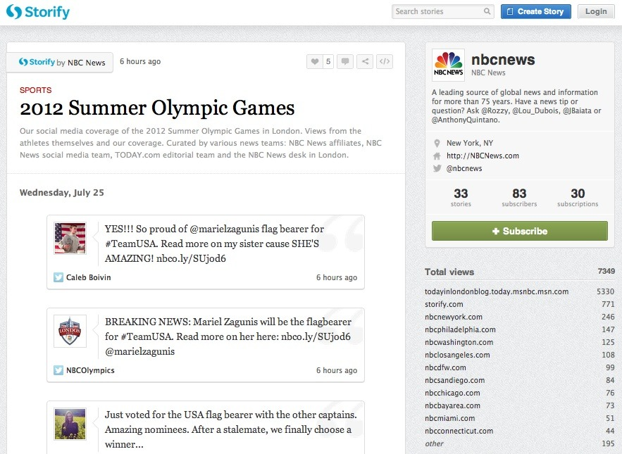 "NBC Links Up With Storify For Real-Time Curated Olympics Coverage Reblogged from TechCrunch, by INGRID LUNDEN On the heels of a deal with Facebook to promote Olympic conversations on NBC's Facebook page, the broadcast network today is taking one more step to improve its social standing during the big sports event. It is linking up with Storify, the social-media ""story creator"", to put streams of real-time Olympic content, curated by NBC journalists, across Today.com as well as NBC's 10 owned TV station websites. An NBC spokesperson tells me that this is one of the ""bigger things"" that NBC has attempted to do using social media. NBC journalists — hundreds, a spokesperson tells me, that will be in London and elsewhere — will be mining content from Facebook, Twitter, Instagram, YouTube and other social media sites, and putting into the Storify platform to create running narratives. It will be the first time that journalists affiliated with the local sites will work in collaboration with the NBC News team on an effort like this… [Full Story]"