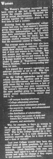 Editorial, Oberlin Review, September 25, 1970