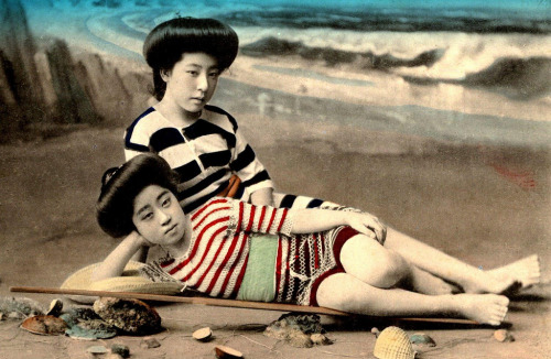 Beautiful Swimsuit Girls of Japan -  Early 20th Century Handcolored Photograph