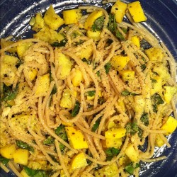 pasta w/ yellow squash, basil, garlic & olive oil (gluten-free & vegetarian) (Taken with Instagram)