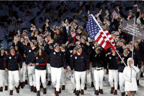 "kateoplis:  America has refused the Olympic tradition of dipping its flag to the host country since…. 1908.  Most Olympic teams briefly lower their colors as a sign of respect when they march past the box where the host nation's leaders are seated. The U.S. does not. When the Americans pick a flag bearer for the 2012 London Olympics this week, he or she almost certainly will be advised to uphold a tradition that dates back more than a century. According to popular legend, shotputter Ralph Rose set the tone at the 1908 Summer Games — also held in London — when he supposedly proclaimed: ""This flag dips for no earthly king."" [Photo: Mark Grimmette leads the U.S. team into BC Place for the opening ceremony of the 2010 Vancouver Olympics. Robert Gauthier/LAT]  Read on."