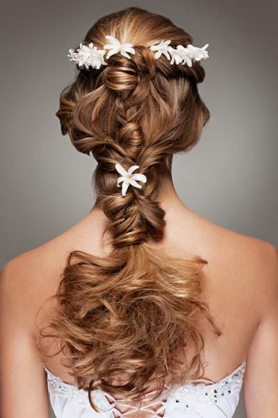 Braid with Flower Crown Braided hairstyles are the perfect symbol for a wedding – joining together multiple elements. This stunning wedding plait features romantic curls and elaborate braids. This bridal hair is completed with a simple flower crown. Check out these wedding braid pictures to see this beautiful wedding hairstyle from all angles.