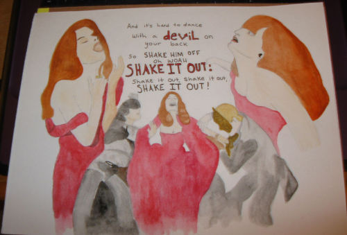 "My mixed media piece of Florence's music video for ""Shake It Out"" (WIP)   It's not finished yet, but when it is, it will be available on deviantart as a print. :)"