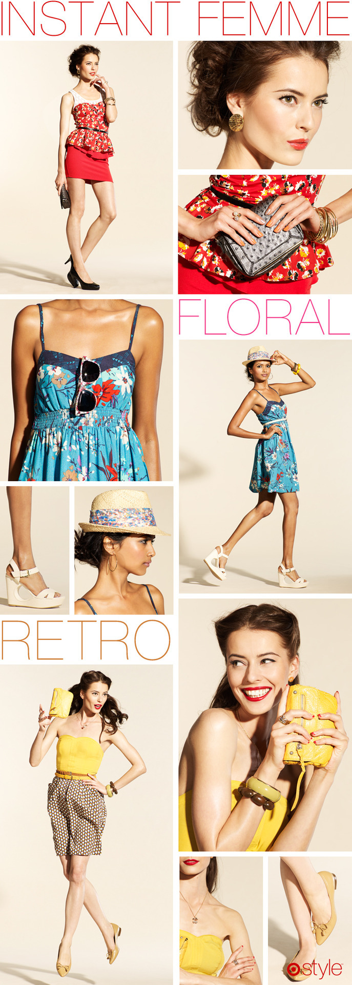 Trend Report Our favorite trends this month: Instant Femme, Floral, and Retro. own it now: peplum skirt. white tank. floral dress. floral sunglasses.  fedora. yellow clutch.  bustier top. ostrich clutch. black pumps. gold earrings. gold bangles. white wedges. bustier dress. skinny belt. yellow flats. yellow bangle. bead bracelet. (shop in store)