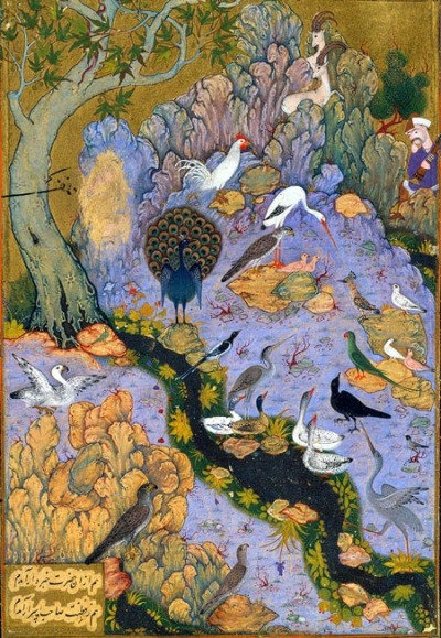 victusinveritas:  Page from the Conference of the Birds (written by Farid ud-Din 'Attar), illustrated by Habib Allah, 1610). Come you lost Atoms to your Centre draw,And be the Eternal Mirror that you saw:Rays that have wander'd into Darkness wideReturn and back into your Sun subside