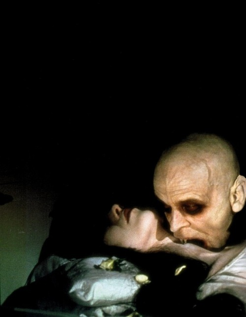 "Klaus Kinski & Isabelle Adjani in Nosferatu the Vampyre (1978, dir. Werner Herzog) (via) ""I never thought of my film Nosferatu as being a remake. It stands on its own feet as an entirely new version..It is a very clear declaration of my connection to the very best of German cinema, and though I have never truly functioned in terms of genres, I did appreciate that making a film like Nosferatu meant understanding the basic principles about the vampire genre, and then asking, 'How am I going to modify and develop this genre further?' The images found in vampire films have a quality beyond our usual experiences in the cinema. For me genre means an intensive, almost dreamlike, stylization on screen, and I feel the vampire genre is one of the richest and most fertile cinema has to offer. There is fantasy, hallucination, dreams and nightmares, visions, fear and, of course, mythology. What I really sought to do was connect my Nosferatu with our true German cultural heritage, the silent films of the Weimar era, and [F.W.] Murnau's work in particular.""  -Werner Herzog, quoted in Herzog on Herzog"