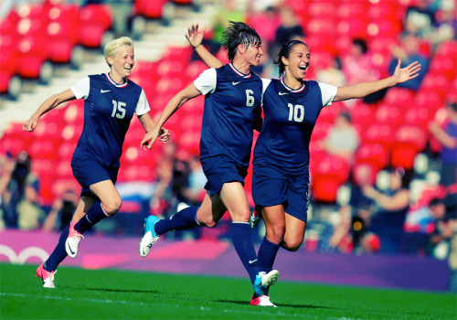 olympicsusa:  Megan Rapinoe, Amy LePeilbet & Carli Lloyd celebrate as USA wins France 4-2.