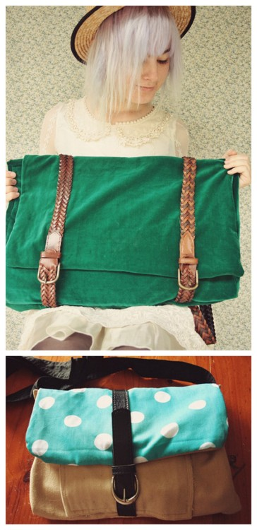DIY Two Satchel Bags Using Thrifted Belts Tutorials from Pineneedle Collective. Top Photo: DIY Double Belt Satchel Backpack Tutorial from Pineneedle Collective here, Bottom Photo: Single Belt Satchel from Pineneedle Collective here.