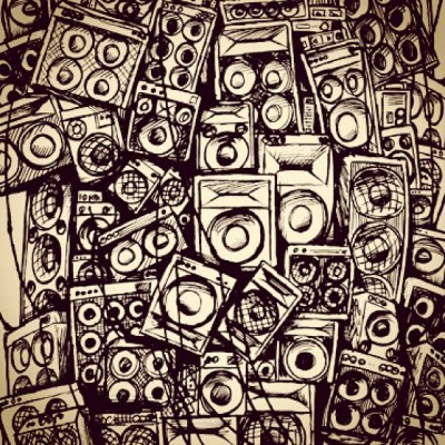 Wall of sound. #illustration #art #speakers (Taken with Instagram at No Clothes Party)