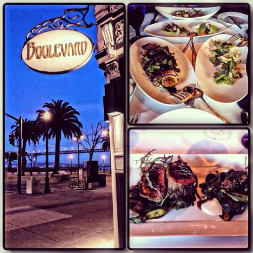 Amazing dinner @ Boulevard San Francisco #figs #spanishgoatcheese #lamb #rockshrimpstuffedcalamari #foodporn cc: @nancyoakes (Taken with Instagram at Boulevard)